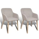 Conjunto de 2 cadeiras de gôndola com braço interior de tecido bege
