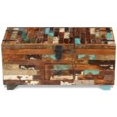 Tavolino da caffè in legno massello di recupero 80 x 40 x 35 cm