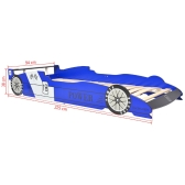 Racing car bed for children 90 x 200 cm Blue