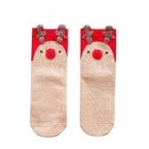 Calcetines de algodón rojo calcetines tridimensionales dibujos animados de navidad