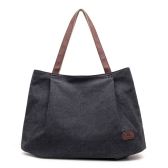 Women Canvas Handbag Large Capacity Tote Bag Solid Color Messenger Crossbody Shoulder Bag