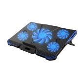5ファンポータブルラップトップ冷却パッドLEDライトデュアル2.0 USBポートクーラーは、17インチのノートブックの熱放散クーラーの上にフィット