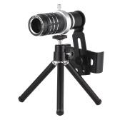 Lente de teleobjetivo con trípode para teléfono móvil con zoom óptico 12X para iPhone Samsung HTC Nokia Sony Negro