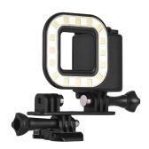Cámara de acción LED Luz de buceo Lámpara de relleno 16pcs LED 300LM 3 Modos de iluminación Submarino 30 m con batería recargable para GoPro Hero 7/6 / 5s / 5 / 4s / 4/3 + / 3 Cámaras deportivas