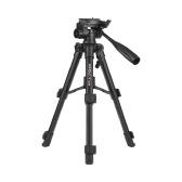 Kingjoy VT-850 Trípode de cámara profesional de aleación de aluminio de 28 pulgadas y 3 secciones para fotografía Soporte para grabación de video DSLR SLR Videocámara con bolsa