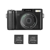 """Andoer R1 1080P 15fps Full HD 24MP Caméscope numérique Caméscope 3.0 """"écran ACL rotatif Anti-shake Zoom numérique 4X lampe de poche rétractable avec filtre UV 2pcs batteries Li-ion"""