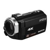 Andoer 4K HD Cámara de video digital Videocámara DV 16X Zoom digital 3 pulgadas TouchScreen Conexión WiFi Soporte de zapata para visión nocturna por infrarrojos con 2 piezas