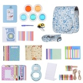 Andoer 14 en 1 Accessoires Bundle pour Fujifilm Instax Mini 8/8 + / 8s / 9 avec étui / courroie / autocollant / Selfie Lentille / filtre / Album / Cadre photo / Border Sticker / coin autocollant / stylo, bleu