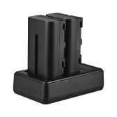 Батарея и зарядное устройство Andoer F550 Комплект 2pcs 7.4V 2200mAh NP-F550 Батарея + 1pc LCD2-NPF550 Двухканальная камера Зарядное устройство USB-порт ЖК-дисплей для светодиодного видео свет