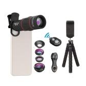 APEXEL APL-T18XBZJ5 Teleobjetivo 4 en 1 Kit universal de lentes para teléfono móvil