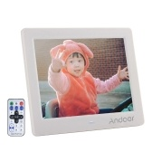 "Segunda mão Andoer 8 ""HD Wide Screen Alta Resolução Digital Photo Picture Frame Despertador MP3 MP4 Movie Player com Controle Remoto de Presente de Natal"
