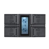 Andoer NP-F970 Carregador de bateria de câmera digital de 4 canais com display LCD para Sony NP-F550 F750 F950 NP-FM50 FM500H QM71
