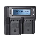 Andoer EN-EL15 Carregador de bateria de câmera digital de dois canais com display LCD para Nikon D500 D610 D7000 D7100 D750 D800 D810 D7200