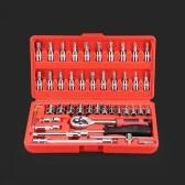 46pcs Set di chiavi a bussola professionale in acciaio multifunzione professionale