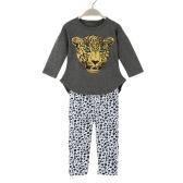 Nouvelles filles Fashion vêtements ensembles T-shirt Leggings léopard tête impression ronde cou manches longues mignon costume