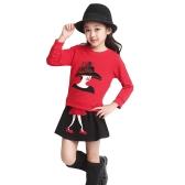 Jolies filles caractère ensemble deux pièces Patchwork manches longues Sweatshirt élastique à la taille Mini jupe tenues rouge/noir