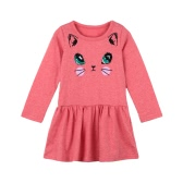Новый ребенок девушки дети платье хлопка мультфильм Cat печати выпало талии твердых O шею длинными рукавами мило детей принцесса платье