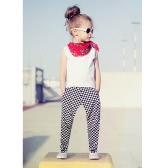 Fashion Kids filles Deux-pièces Vest manches T-Shirt Plaid Imprimer Pantalon taille élastique Tenues Blanc
