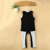 Мода Дети ребёнков два-Piece Set жилет без рукавов футболки Сращивание Контраст Цвет эластичный пояс брюки Нижнее черный