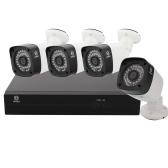 Hodely-4CH 1080P POE Set with 4pcs 1MP 36-LED Night Vision HD 3.6mm Camera Lens Cameras US Plug
