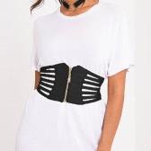 Cinturón de Mujeres Sexy cinturón de cuero de la PU ahueca hacia fuera el cinturón elástico Cincher elástico de la cintura de la cintura negro