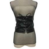 Corsé de cuero de las mujeres de la vendimia Encaje encima del vendaje Cintura Correa de la correa Forma-Haciendo Midriff Cincher Cintura ancha Negro