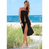 Las mujeres atractivas cubren para arriba el ganchillo ahuecan hacia fuera el Beachwear Bohemio Boho Bikini visten la falda Summer Beach Beige / el negro