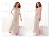 Las mujeres dama Bohemia Boho Maxi vestido gasa larga playa plisado vestido de verano