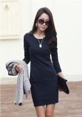 Fashion Elegant Women Sexy Mini Dress Long Sleeve Slim OL Pencil Dress Dark Blue