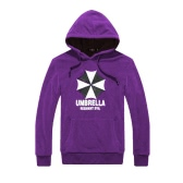 Fashion Men Hoodies Umbrella Letter Print Long Sleeves Pocket Hooded Pullover Sweatshirt Purple