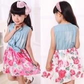 Fashion Kids filles robe Jean Denim sans manches Bow haut fleurs ébouriffées mignon princesse robe d