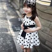Новые моды дети девочки платье полька точка печать обратно молния O шеи без рукавов галстук талии принцесса платье темно синий/белый