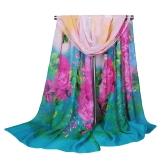 أزياء المرأة الشيفون وشاح الأزهار طباعة طويلة شال الباشمينا رقيقة