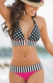 New Fashion Women Bikini Set Dot Stripe Print Halter Neckline Removable Padding Sexy Swimsuit Black