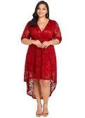 المرأة الجديدة بالاضافة الى حجم الرباط اللباس عبر الجبهة عالية منخفضة تنحنح العميق الخامس الرقبة نصف الأكمام حزب فساتين ميدي