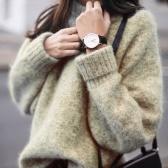 Mujeres O cuello manga larga suelta sexy suéter de punto