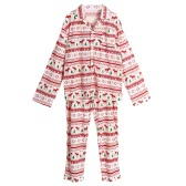 I nuovi uomini insieme a due pezzi pigiama di Natale degli indumenti da notte girano-giù maniche lunghe Bottoni Bianchi