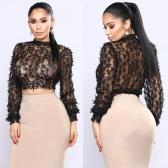Sexy Women Sheer Lace Crop Top High Neck Long Sleeve Mesh Slim Blouse T-Shirt Black