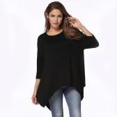 Nueva Moda Mujer T-shirt cuello redondo 3/4 mangas Irregular Hem suelto Camiseta Top Blanco / Negro