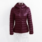 New Winter Autumn Women Duck Down Veste à capuche Zipper manches longues Slim Light Down Coat