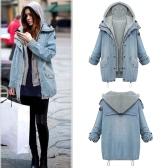 Mode Femmes Ensemble à deux pièces Veste en jean Gilet à capuche Manteau à manches longues surdimensionnée Bleu clair