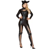 Women Halloween Costume Jumpsuit Lace Up Cut Out Cosplay Party Solid Bodysuit Fancy Lingerie Playsuit with Hat Black
