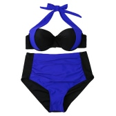 Sexy Women Bikini Set Contrast Color Block Underwire Halter Top High Waist Bottom Beach Swimwear Swimsuit Bathing Suit