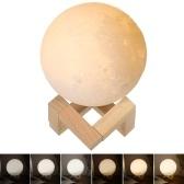 Décor de chambre de lumière de lune 3D impression avec support en bois
