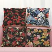 Мода Высокое качество Красочные льняные цветы Многоцветные красные розы Зеленые листья травы Декоративные квадратные печатные чехлы для подушек для подушек Чехлы на подушки для офисного дивана