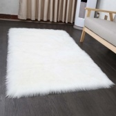 Soft Shaggy White Plush Rectangle Decorative Rug Carpet