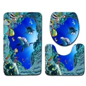 Set da bagno in flanella con motivo stampato blu oceano e set 3 pezzi