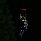 Color-Changing LED Solar Mobile Wind Chime Pathonor Mudando a cor da luz Waterproof Six Hummingbird Wind Chimes para casa / festa / noite Decoração do jardim
