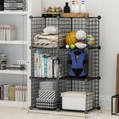 Black Organizing Bookrack Simply Constructed Steel Wire Mesh Store Cube Storage Rack