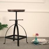 iKayaa estilo industrial de altura ajustable giratorio de cocina silla de comedor Desayuno Natural Pinewood Top Bar Stool